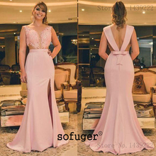 Evening-Dresses Robe-De-Soiree-Plus Mermaid Backless Satin Arabic Special-Occasion Pink