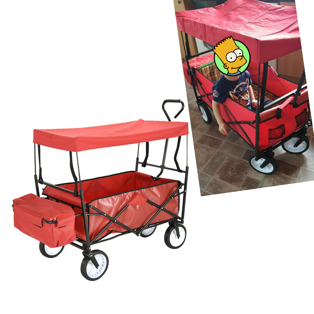 Panana Garden Wagon Children Kids Pull Along Trolley Cart Trailer Transport Outdoors Fast shipping 4 Wheels image