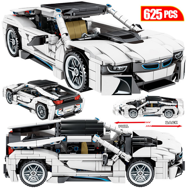 625pcs Creator Off-road SUV Vehicles Building Blocks City Technic Racing Car Pull back MOC Sports Car Bricks Toys For Children
