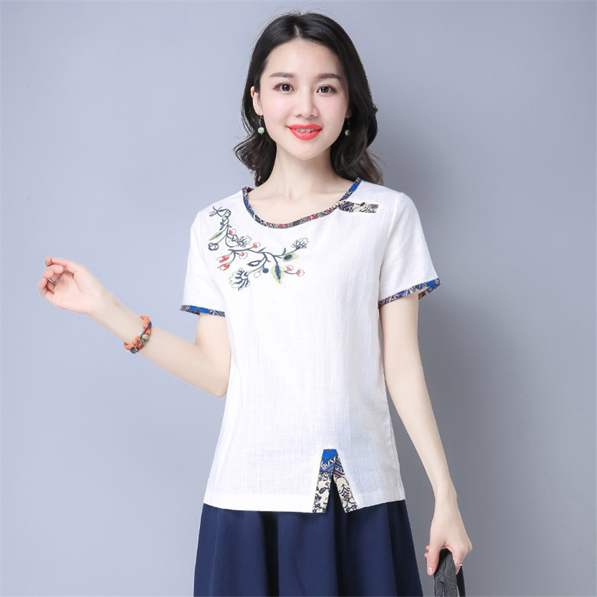 M-4XL Chinese Tops For Woman Summer Traditional Chinese Embroidery Shirts Loose Short Sleeve Plus Size Vintage Blouse