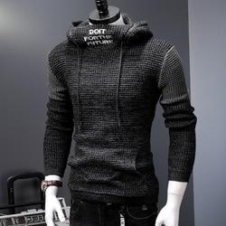 Neue Mit Kapuze Pullover Männer Herbst Winter Warme Strick herren Pullover Casual Pullover Mantel Ziehen Homme Plus Größe 5XL