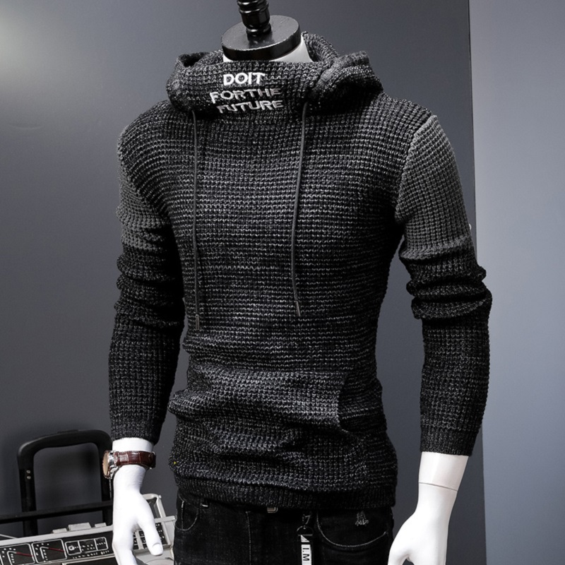 New Hooded Sweater Men Autumn Winter Warm Knitted Men's Sweater Casual Pullover Coat Pull Homme Plus Size 5XL