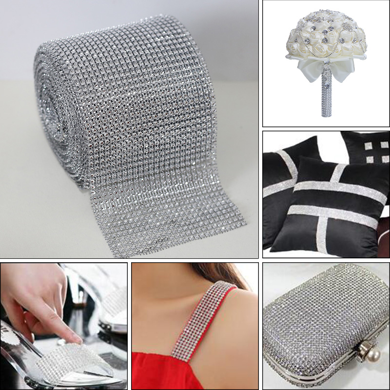 """Closeout DealsChain for Wedding-Decoration CL01 Trimming Ribbon-Cup Mesh Silver-Base Rhinestones Crystal"