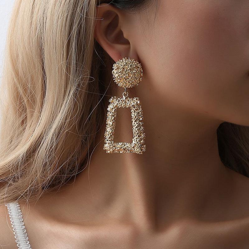 Fashion Gold Silver Earrings Geometric Statement Boho Dangle Stud Metal Earrings