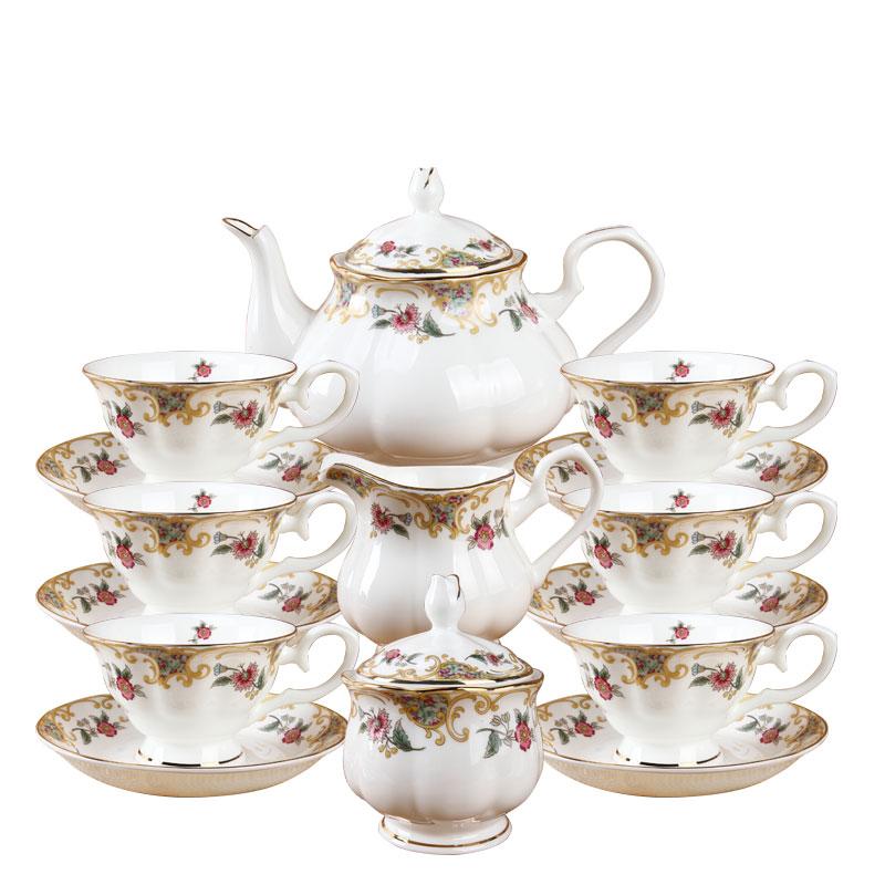 Angleterre classique rose design 15 pièces fine porcelaine thé et café ensemble