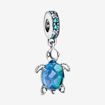 Authentic 925 Sterling Silver Charm Hot Turtle Creative Blue Turtle Pendant Fit Pandora Women Bracelet & Necklace Diy Jewelry kamaf 100% authentic 925 sterling silver heart shaped charm beaded bracelet diy necklace pendant