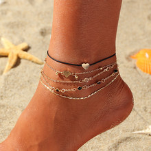 2019 New Heart Anklet Fashion Simple Love Multi-piece Summer Beach Anklet Footwear(China)