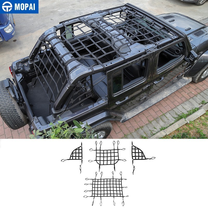 MOPAI รถสำหรับ JEEP Wrangler JK JL รถ Trunk กระเป๋าหลังคา Carrier Cargo Trail Storage NET สำหรับ JEEP Wrangler JK JL 2007-2019