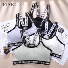 FINETOO-Chaqueta con letras para mujer, Sujetador de algodón con correa cruzada, sin sujetador trasero, ropa interior suave