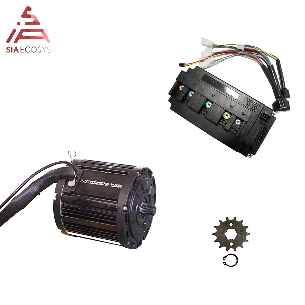 QS MOTOR <font><b>3000W</b></font> 138 70H sprocket design mid drive motor with EM150S controller max speed 100kph image