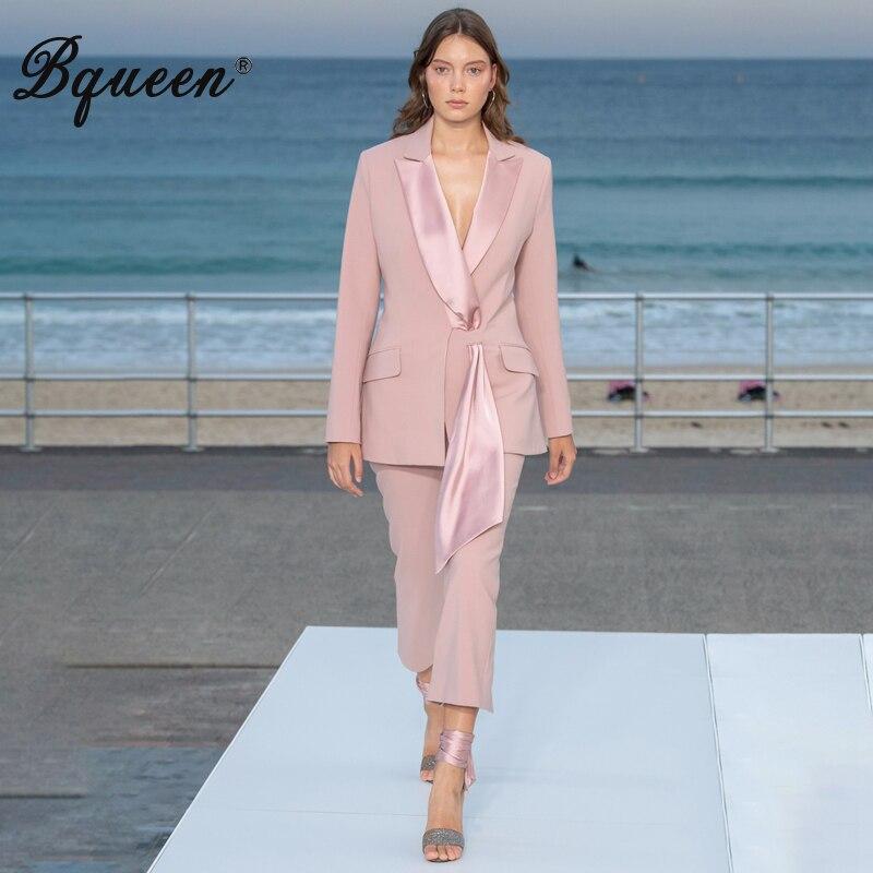 Bqueen 2019, модные сексуальные деловые брючные костюмы, набор, отложной воротник, пояс, формальные, для женщин, OL, элегантные, обтягивающие, с выр