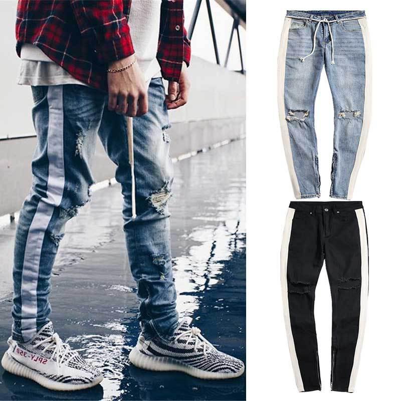 Streetwear Hip Hop Personality Men Jeans Side Zipper Ripped Fashion Male Denim Jeans Men Destroyed Skinny 2 Colors Denim Pants