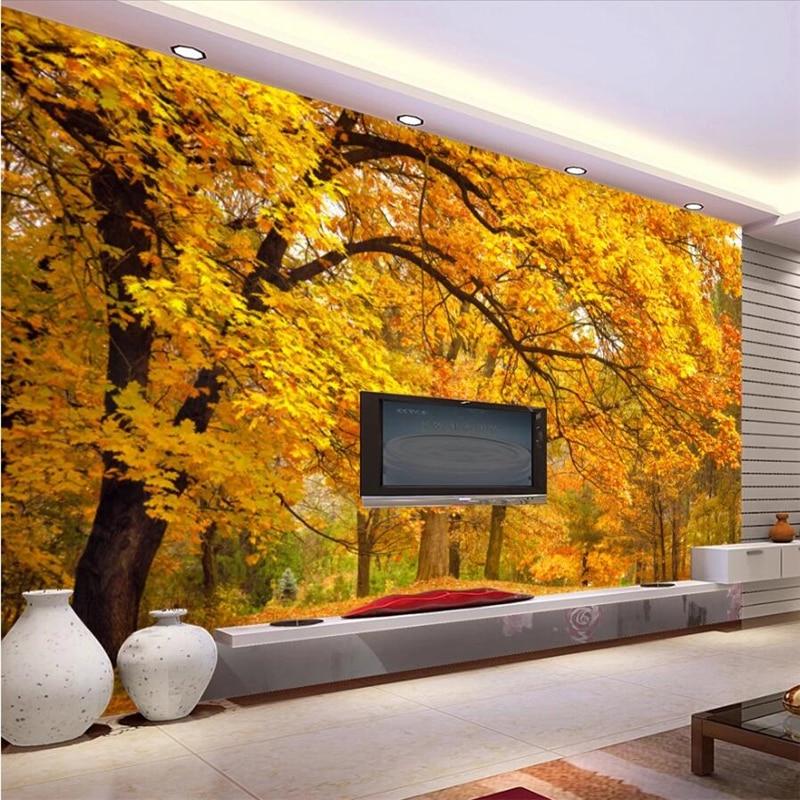 Beibehang Customized High-end Wallpaper 3D Stereo Photo Mural Papel De Pared Autumn Forest TV Background Wall Paper Papier Peint