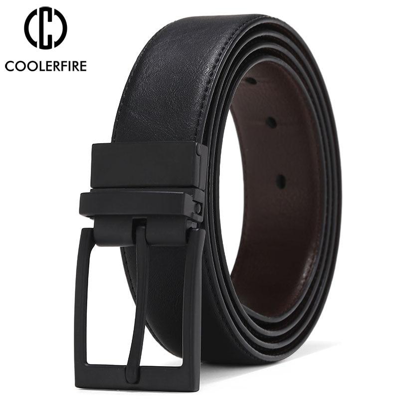 Men Belt Business Dress Belts For Men  Genuine Leather Belt Reversible Buckle Brown And Black Fashion Work Casual HQ111