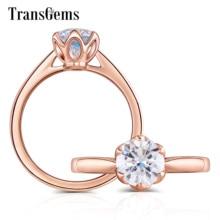 Transgems 14 k rosa ouro flor forma centro 1ct 6.5mm f cor solitaire moissanite anel de noivado para a moda feminina jóias