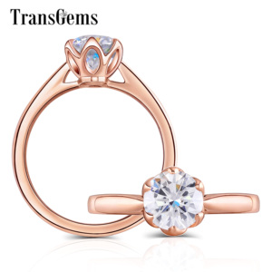 Image 1 - Transgems 14K Rose Gold Flower Shape Center 1ct 6.5mm F Color Solitaire Moissanite Engagement Ring for Women Fashion Jewelry