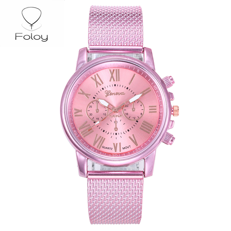 Foloy G Digital Women Watches Quality Fashion Geneva Roman Numerals Faux Leather Analog Quartz Ladies Watch Bracelet Clock Gift