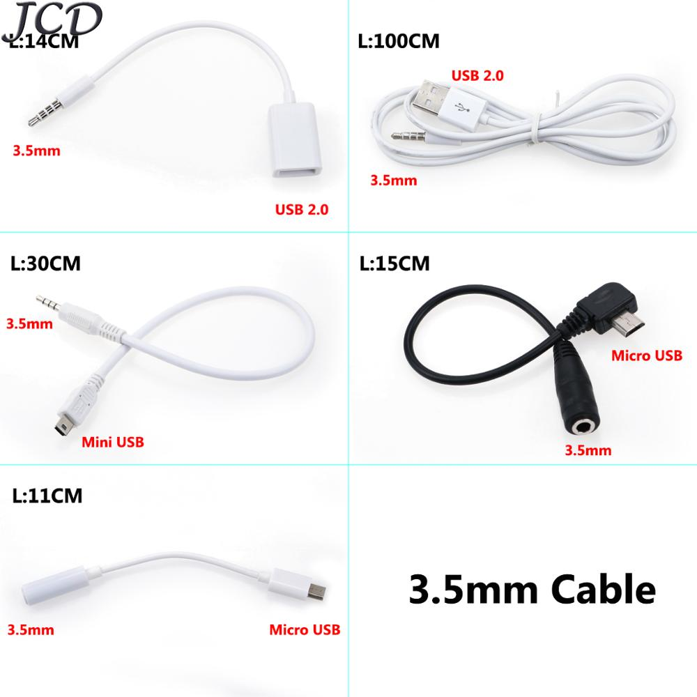JCD 3.5mm AUX Audio Plug Jack To Mini USB/ Micro USB / USB 2.0 Male Charge Cable Adapter Cord For Car MP3/4 Smartphone