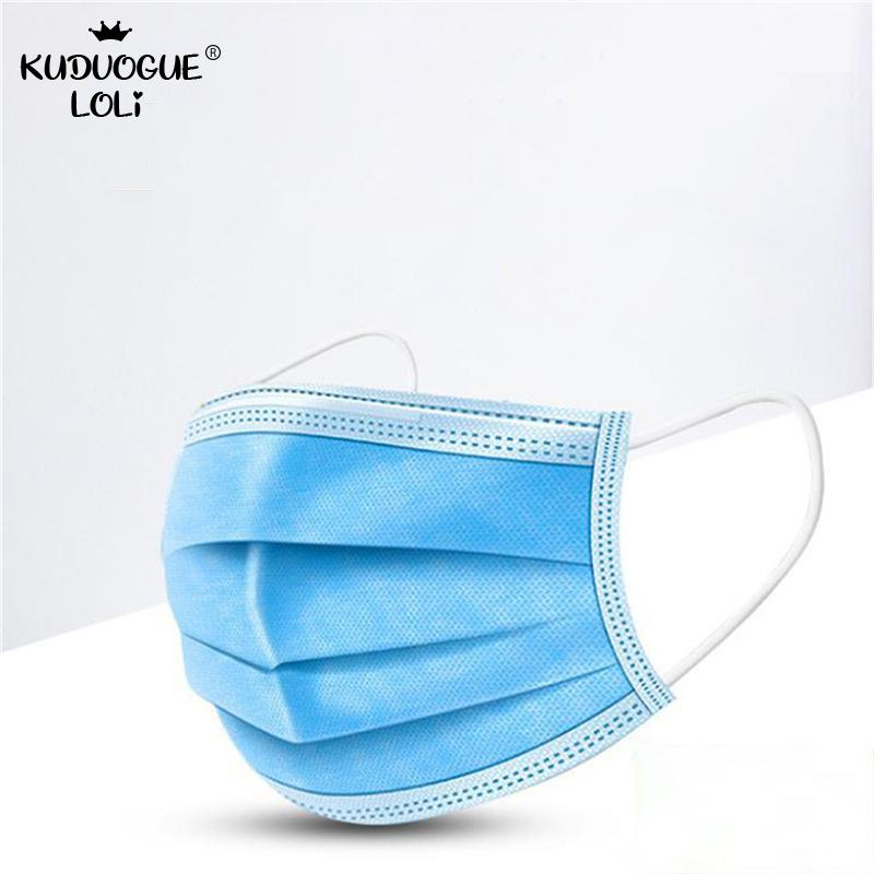 10/100pcs Face Mouth Anti Saliva Mask Disposable Protect 3 Layers Filter Dustproof Earloop Non Woven Mouth Masks 48h Shipping