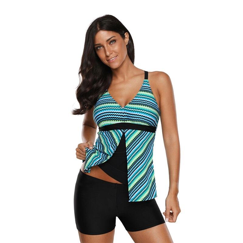 2019 Greenish Fish Scale Print Tankini And Short Set Women's Water Sports Swimsuit Set
