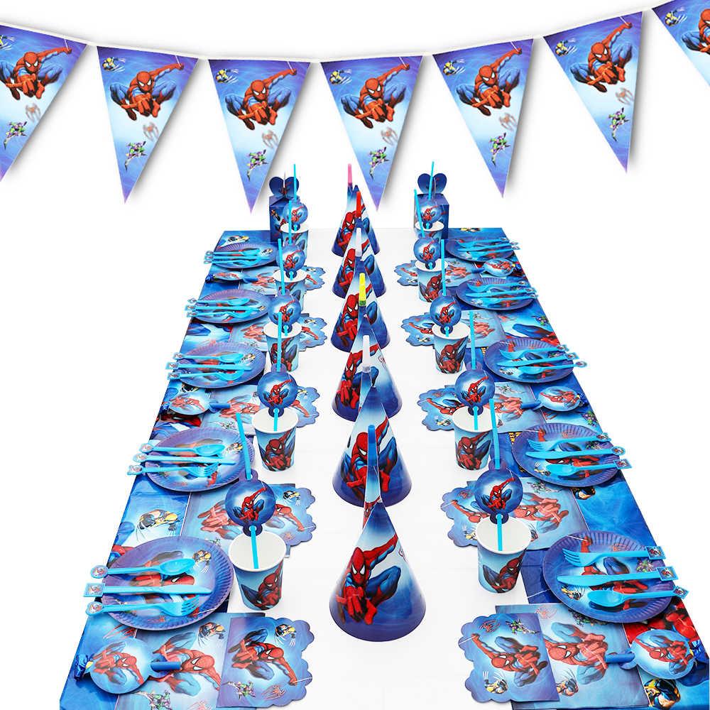 سبايدرمان حفلة عيد ميلاد ورق تزيين لوحة كأس منديل راية/العلم كاندي صندوق القش مجموعة أدوات المائدة استحمام الطفل لوازم الحفلات