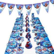 Décoration de fête d'anniversaire Spiderman, assiette en papier, tasse, serviette, bannière/drapeau, boîte à bonbons, ensemble de vaisselle en paille, fournitures de fête prénatale