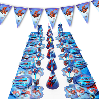 Spiderman Birthday Party Decoration Paper Plate Cup Napkin Banner/Flag Candy Box Straw Tableware Set Baby Shower Party Supplies gold dot disposable tableware set cup plate napkin banner baby 1st birthday party decor baby shower girl party supplies