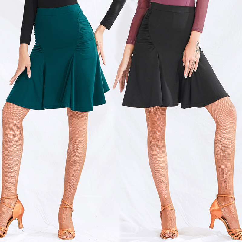 New Latin Dance Skirt Women Short Dance Skirt 2019 Adult Dance Wear Falda Flecos ChaCha Rumba Dress Black Latin Skirt BL2562