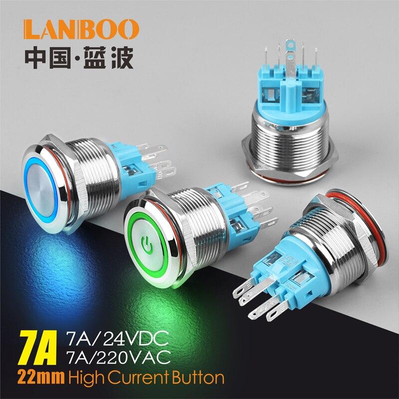 LANBOO-interrupteur momentané métal | 22mm, interrupteur à bouton-poussoir, 12V 24V 220V, 4 vis pied, étanche, interrupteur de bouton d'alimentation de voiture