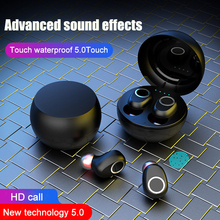 5.0 wireless bluetooth headset 350mAh charging box 9D stereo sports waterproof earbud headset with microphone with makeup mirror