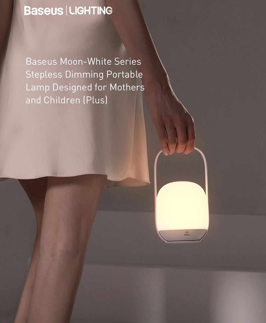 Baseus Moon White Series Knob Stepless Portable Lamp 4