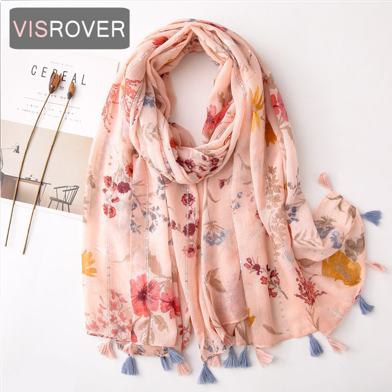 VISROVER 2020 Pink Flower Sequin Viscose Summer Scarf Woman Fashion Blue Butterfly Wraps  Grey Shawls Hijab Gift Wholesales