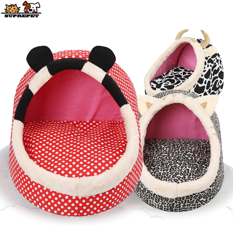 SUPREPET Pet Cat Dog Beds for Small Dogs Leopard Spotted Dog House Winter Warm Soft Dog Cat Kennel Pet Dog Bed Pad Pet Supplies