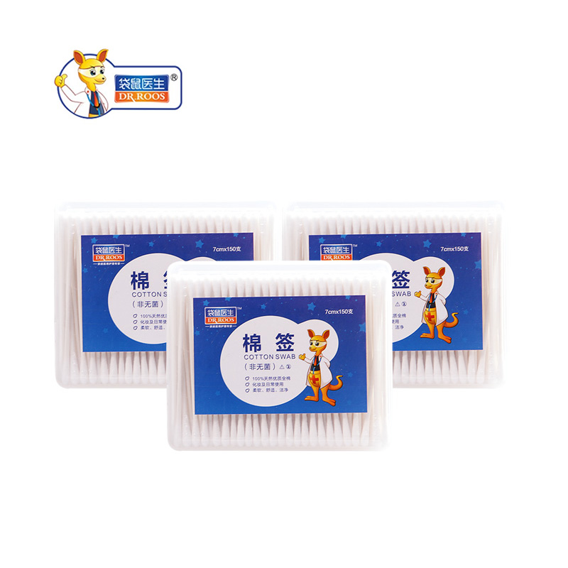 DR.ROOS 150pcs Double Head Cotton Swab Disposable Cotton Swabs Double Head Medical Nose Ears Cleaning Health Care Tools