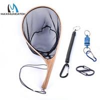 Maximumcatch Fly Fishing Landing Net Nylon Trout Catch and Release Net with Curve Wood Handle Tenkara Net