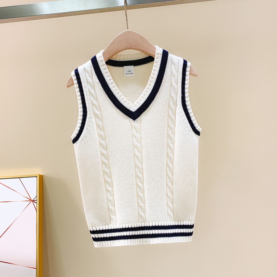 Chunky knit sweater knitted clothes Kids fashion wear Woolen knitwear vest for kids sleeveless cardigan Chunky knit Boys \\ Girls