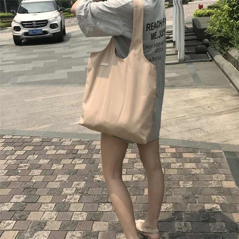 Kadın tuval Tote çanta moda kore tarzı rahat kız bez omuz alışveriş çantası büyük kapasiteli kullanımlık eko seyahat alışveriş