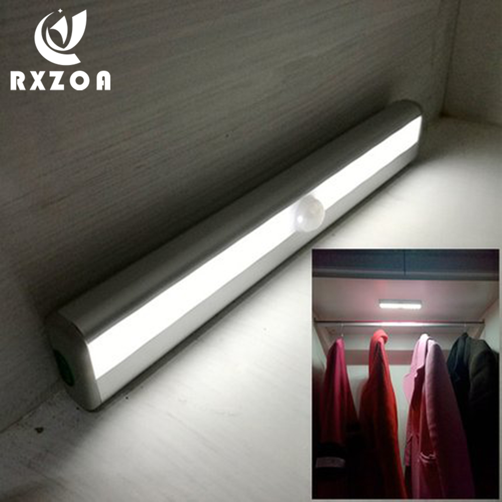 RXZOA Motion Sensor Night Light 10 LED Closet Lights Battery Powered Wireless Cabinet IR Infrared Motion Detector Wall Lamp