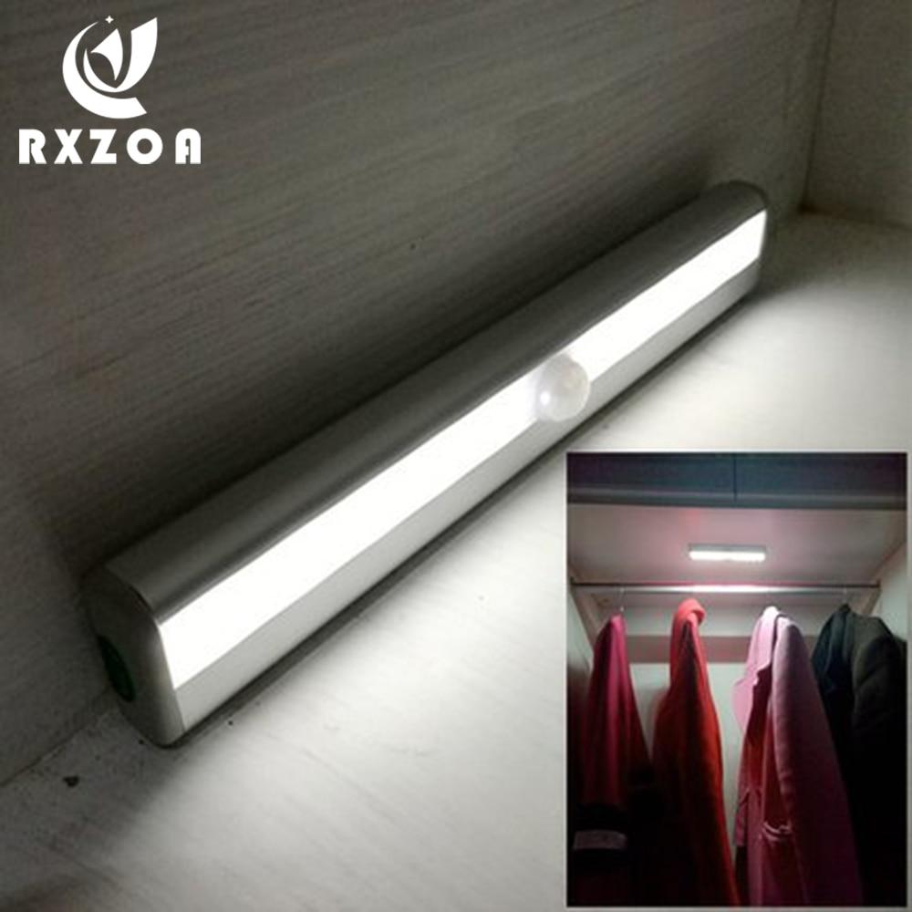 RXZOA Motion Sensor Night Light 10 LED Closet Lights Battery Powered Wireless Cabinet IR Infrared Motion Detector Wall Lamp