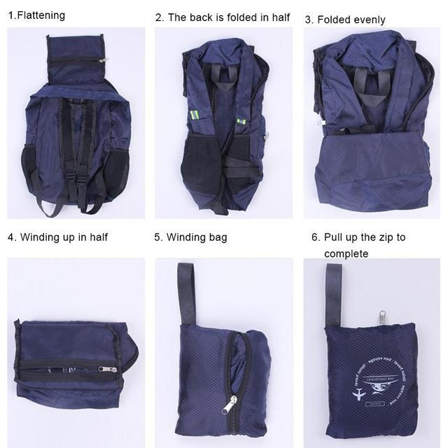 Sac à dos pliable en Nylon Durable, de grande capacité, léger, unisexe, pour voyage en plein air, randonnée, Camping, CSV