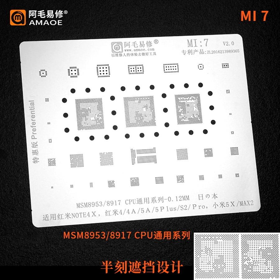 Amaoe BGA reballing stencil For XIAOMI 5X MAX2 REDMI NOTE4 4A S2 5A MSM8953 MSM8917 CPU WIFI AUDIO POWER Chip BGA Tin Plant Net 1