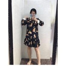 Шелковое платье с длинным рукавом и принтом лисы