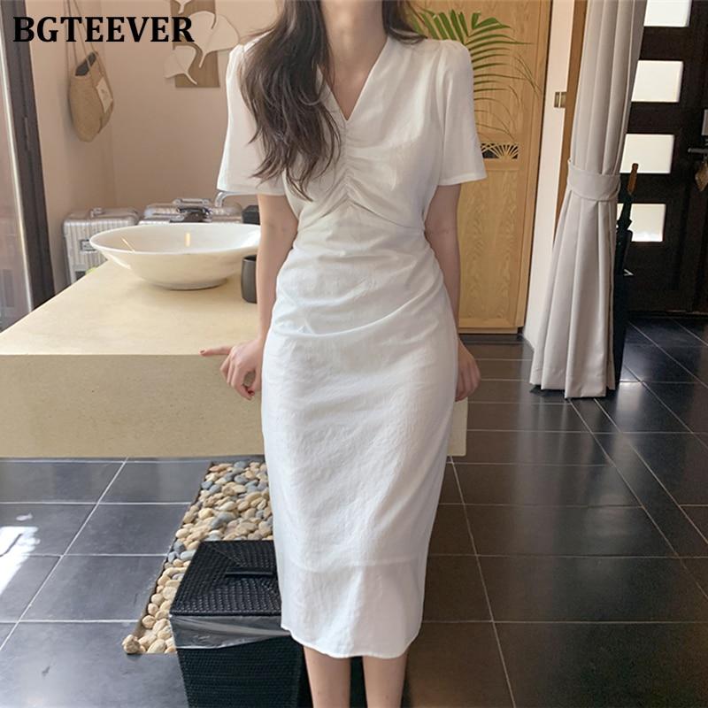 BGTEEVER элегантное женское платье с v образным вырезом и коротким рукавом, с рюшами, приталенное женское платье миди, повседневное летнее платье на шнуровке, Vestidos femme 2020|Платья|   | АлиЭкспресс