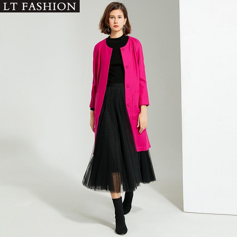 Berly Boutique Женское шерстяное пальто Европейское и американское женское Однотонное шерстяное пальто с круглым вырезом и длинными рукавами