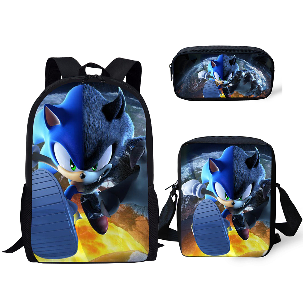 HaoYun Fashion 3PC/Set Backpack Hot Game Sonic 4 The Hedgehog Pattern Students School Bags Cartoon Anime Teenagers Book-Bags Set