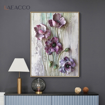 Laeacco Scandinavian Flower Poster Decor Canvas Painting Wall Art Posters And Prints Wall Pictures For Living Room Decoration