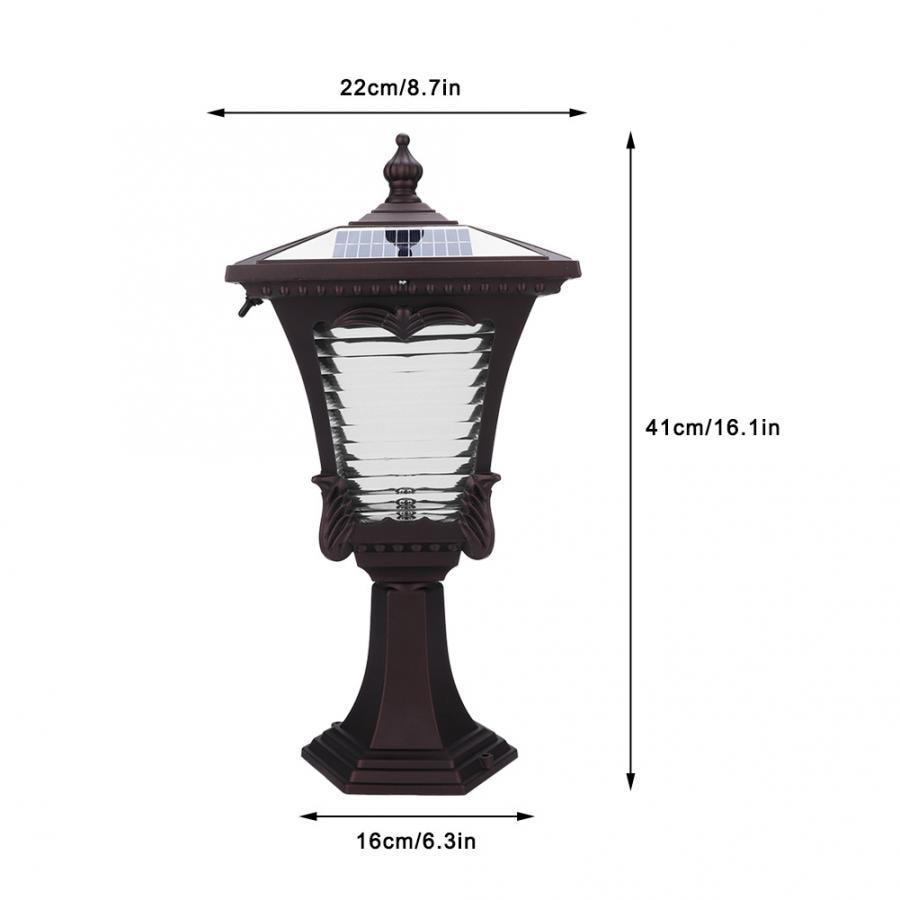LED Solar Powered Pillar Light Retro Style 2 Colors Lantern Glass Yard Garden Gate Post Lamp - 5