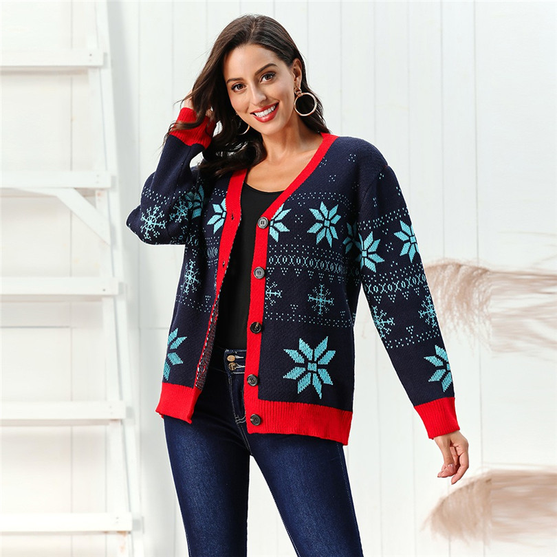V-Neck Christmas Sweater Long Sleeve Cardigan Women Short Snowflake Print Kimono Cardigan Casual Pull Femme Nouveaute 40OCT2110