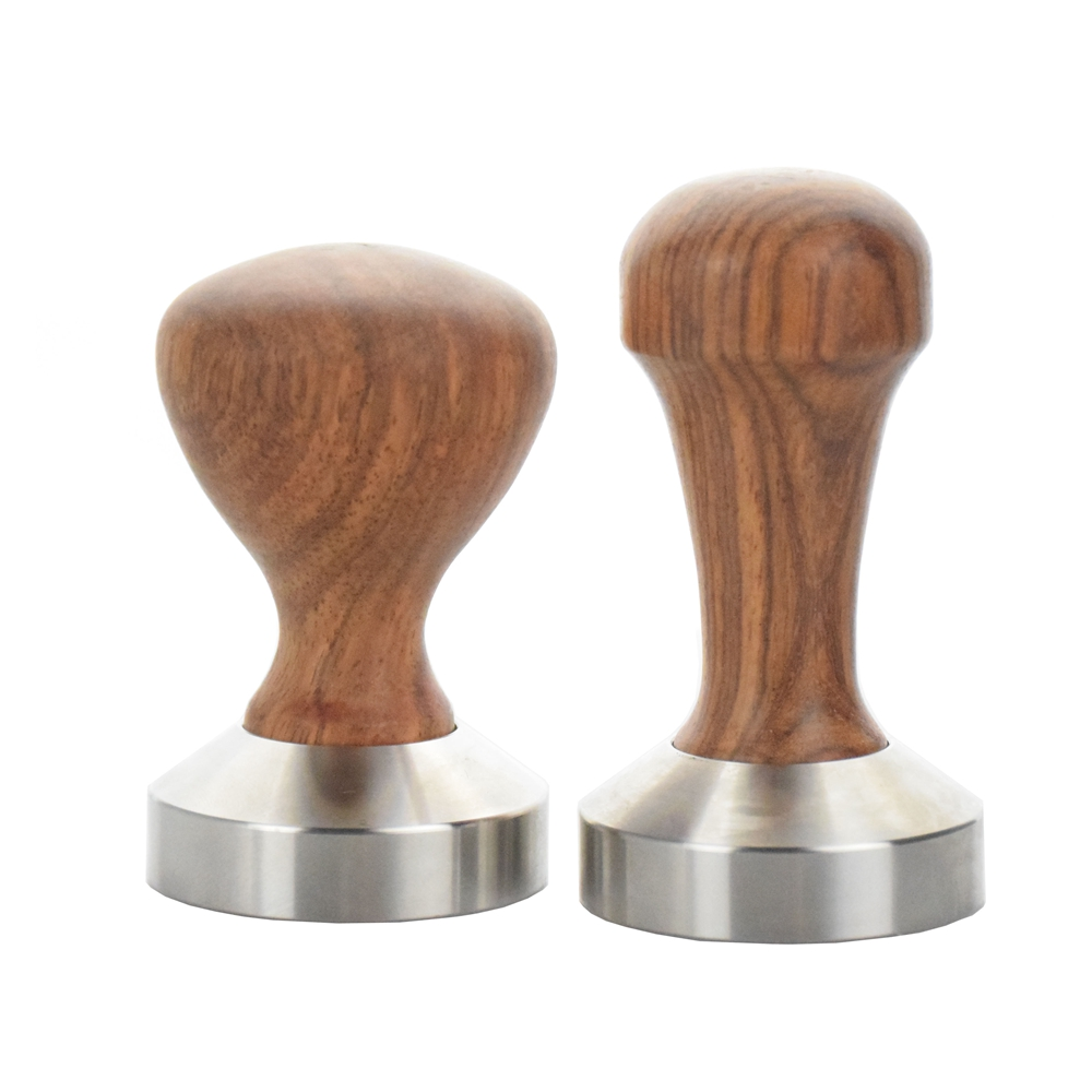 Ecocoffee Solid Rosewood Handle Coffee Tamper 58MM 304 Stainless Steel Barista Coffee Distributor Tamper Mat