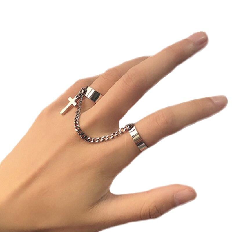 Комплект колец с двойной цепочкой для женщин, ювелирные украшения в стиле панк, хип-хоп, цепь 6 см, с кисточками, Крестом
